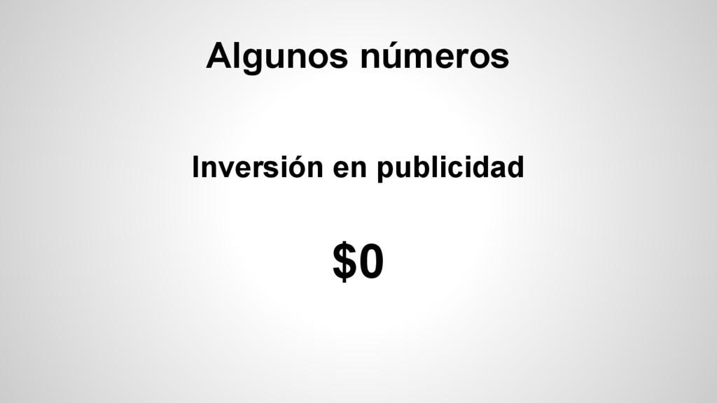 Algunos números Inversión en publicidad $0