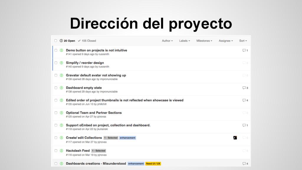 Dirección del proyecto