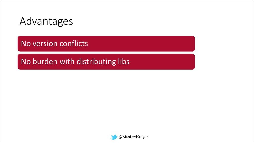 @ManfredSteyer Advantages No version conflicts ...