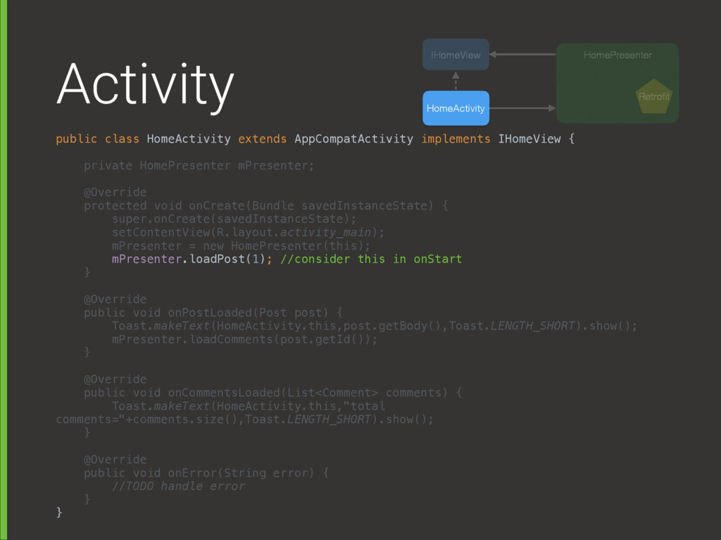 Activity public class HomeActivity extends AppC...