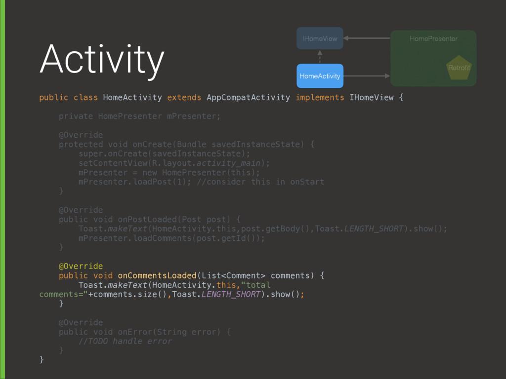 Activity public class HomeActivity extends AppC...