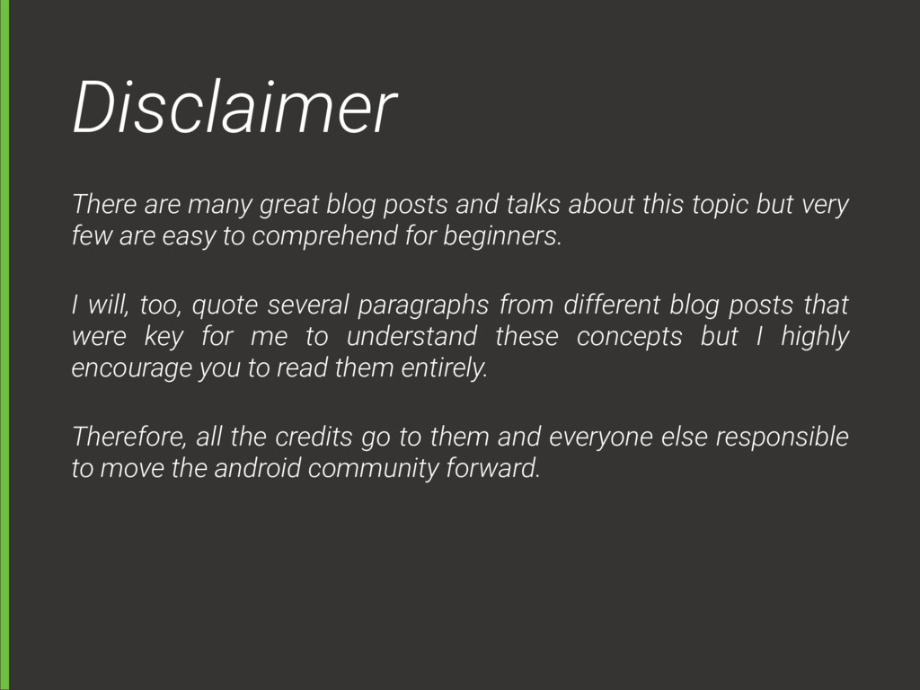 Disclaimer There are many great blog posts and ...