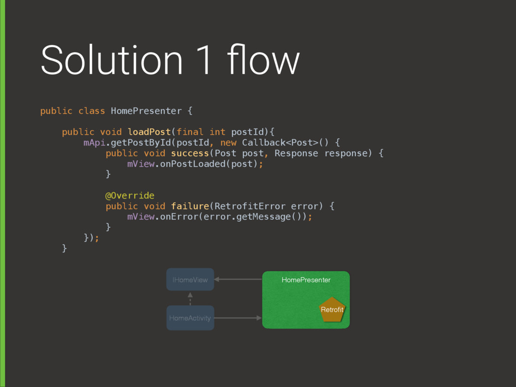 Solution 1 flow public class HomePresenter {