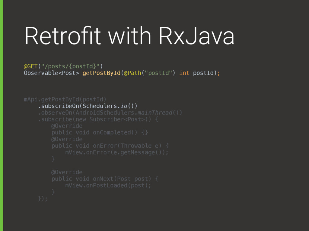 "Retrofit with RxJava @GET(""/posts/{postId}"") Ob..."