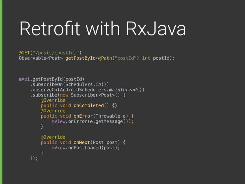 "Retrofit with RxJava @GET(""/posts/{postId}"")