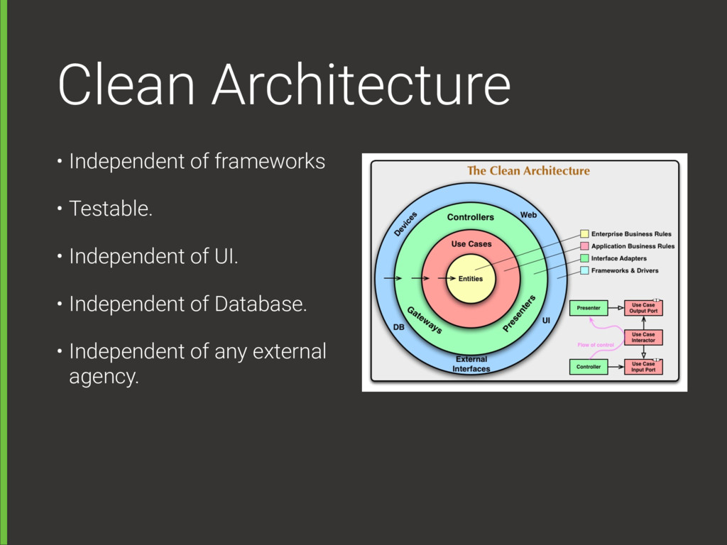 Clean Architecture • Independent of frameworks ...