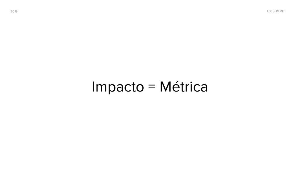 2019 UX SUMMIT Impacto = Métrica