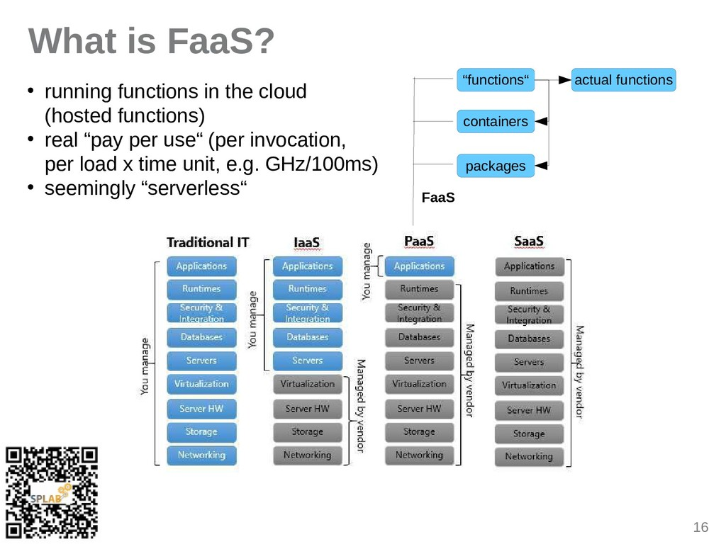 16 What is FaaS? ● running functions in the clo...