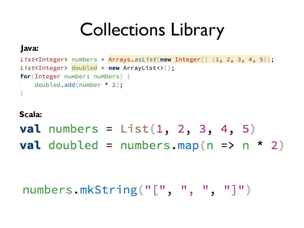 Collections Library Java: Scala: