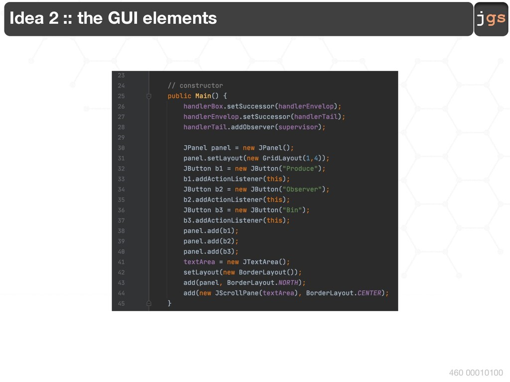 jgs 460 00010100 Idea 2 :: the GUI elements