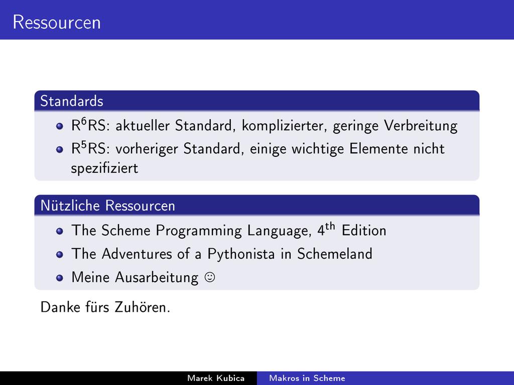 Ressourcen Standards R 6 RS: aktueller Standard...