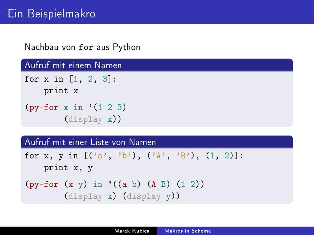 Ein Beispielmakro Nachbau von for aus Python Au...