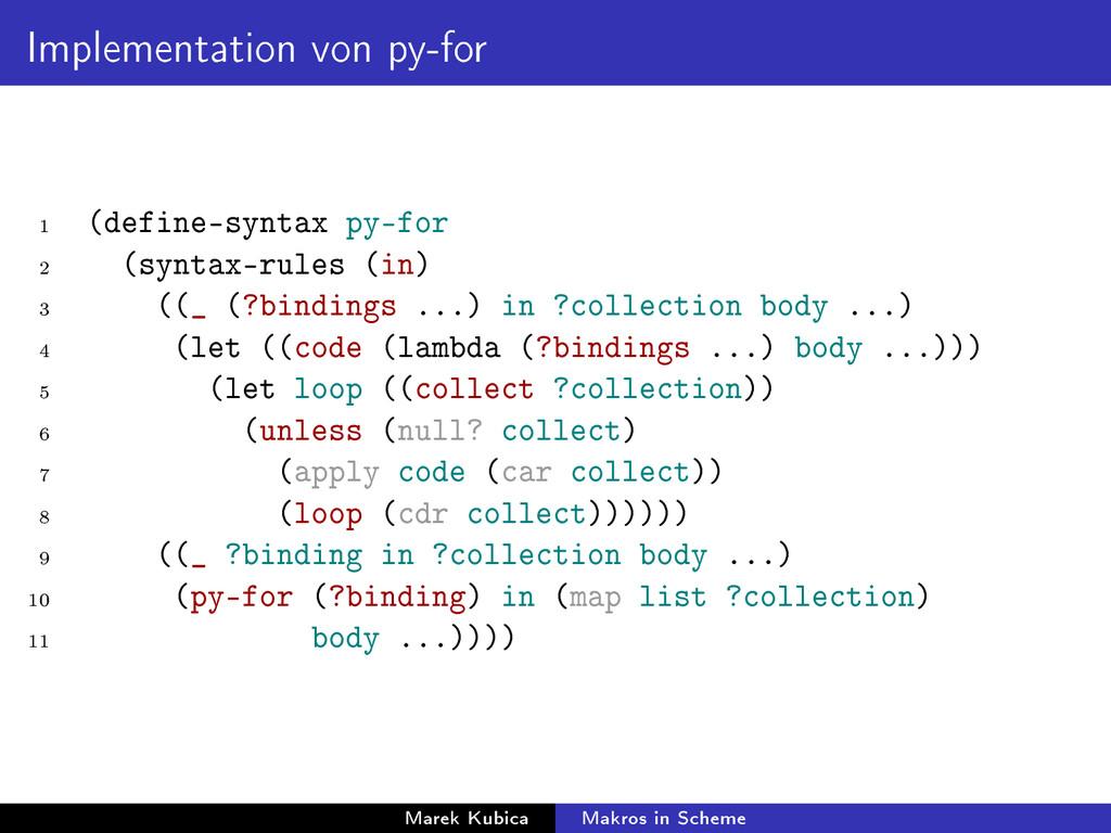 Implementation von py-for 1 (define-syntax py-f...