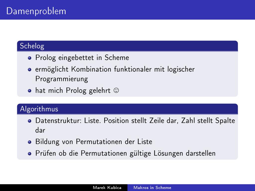 Damenproblem Schelog Prolog eingebettet in Sche...