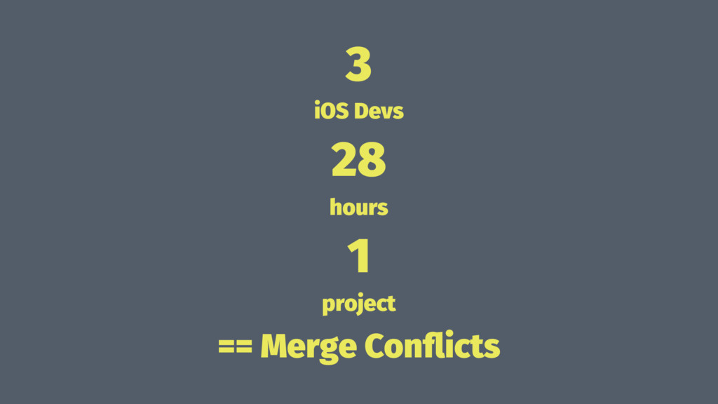 3 iOS Devs 28 hours 1 project == Merge Conflicts