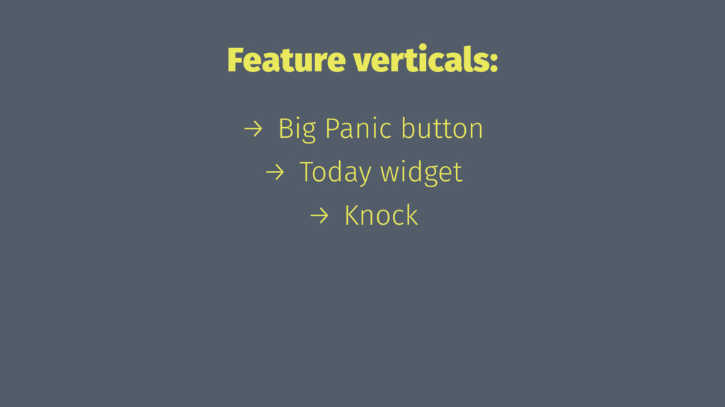 Feature verticals: → Big Panic button → Today w...