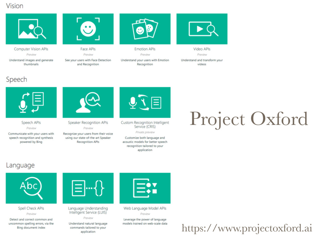 Project Oxford https://www.projectoxford.ai