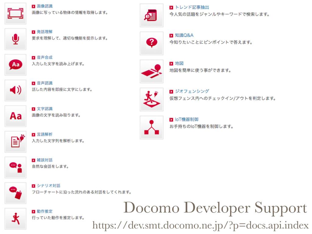 Docomo Developer Support https://dev.smt.docomo...