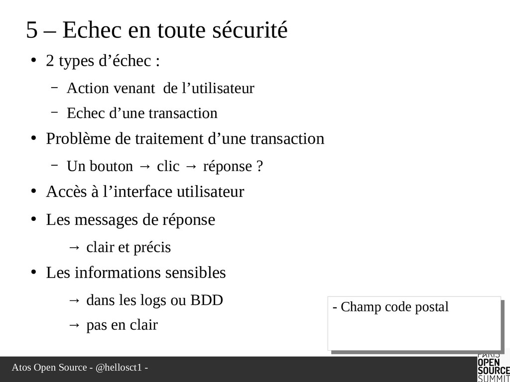 Atos Open Source - @hellosct1 - 5 – Echec en to...
