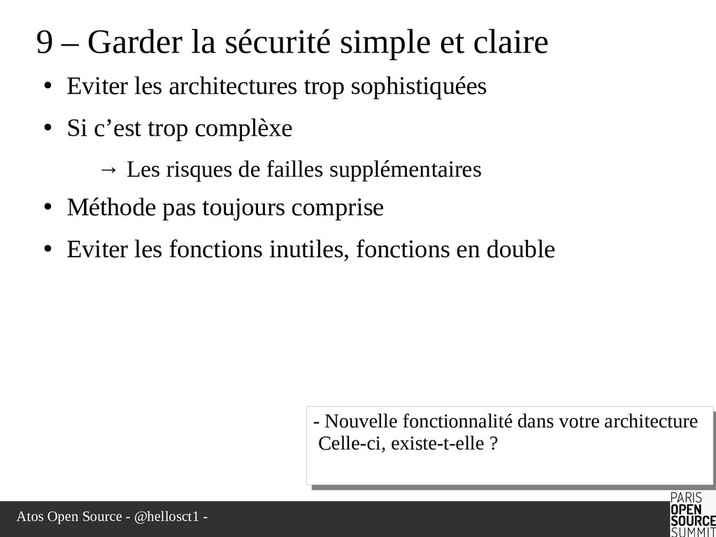 Atos Open Source - @hellosct1 - 9 – Garder la s...