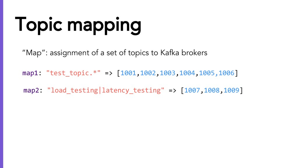 """""""Map"""": assignment of a set of topics to Kafka b..."""