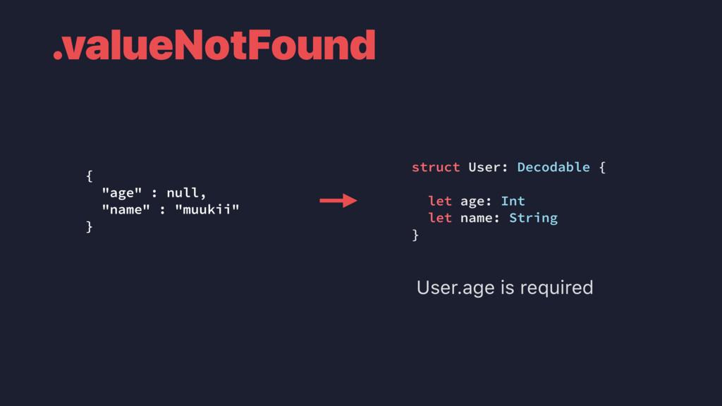 ".valueNotFound { ""age"" : null, ""name"" : ""muukii..."