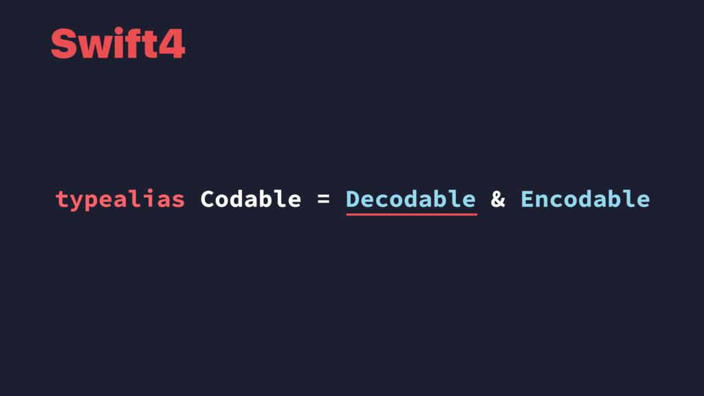 typealias Codable = Decodable & Encodable Swift4
