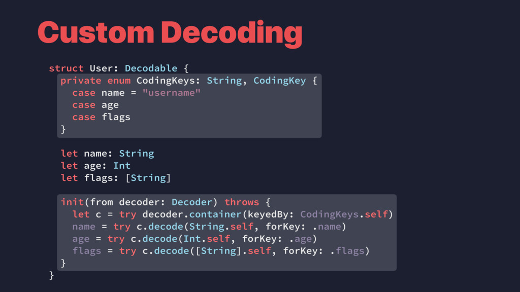 Custom Decoding struct User: Decodable { privat...