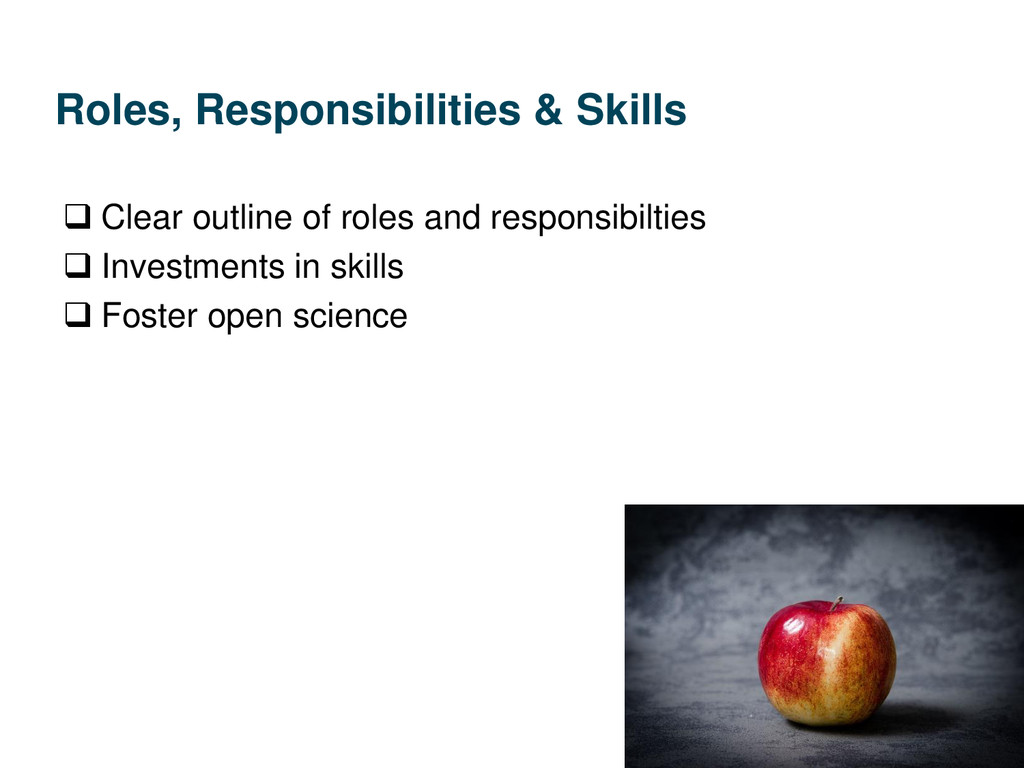 Roles, Responsibilities & Skills  Clear outlin...