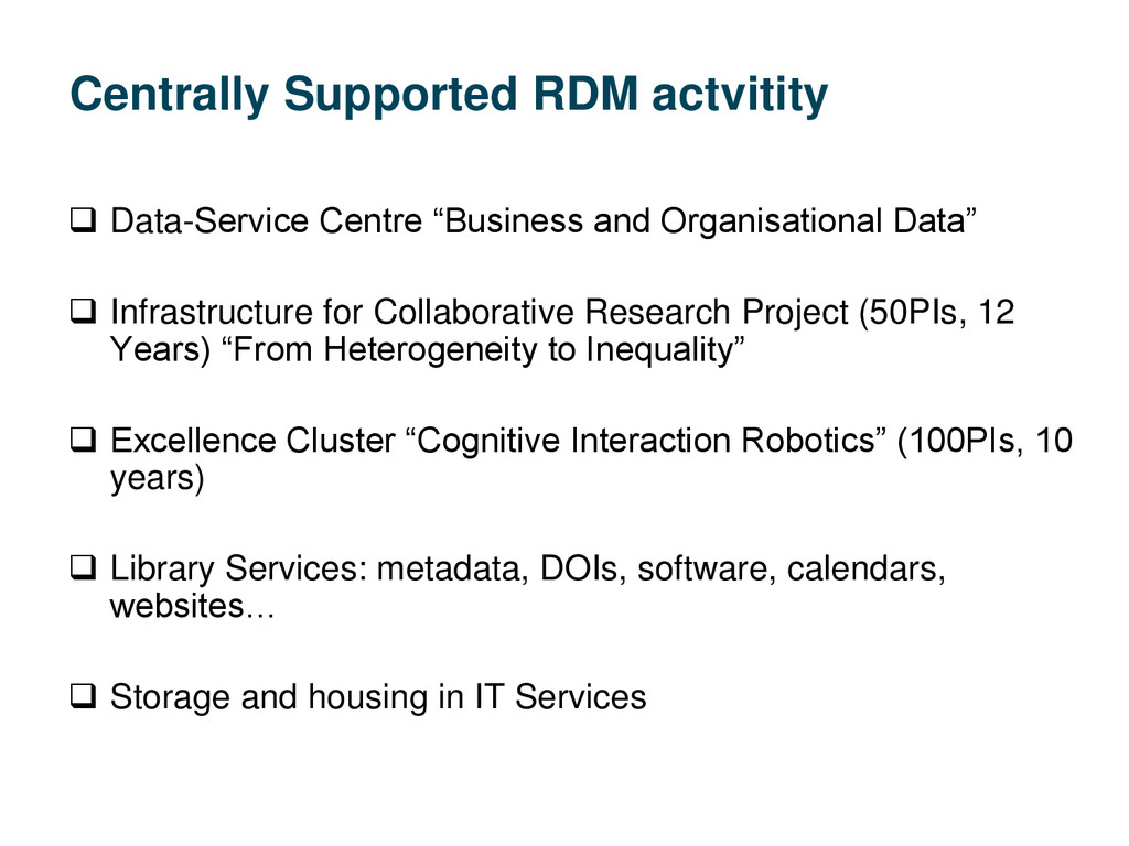 Centrally Supported RDM actvitity  Data-Servic...