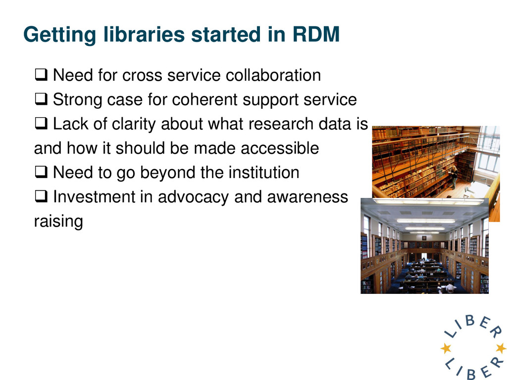 Getting libraries started in RDM  Need for cro...