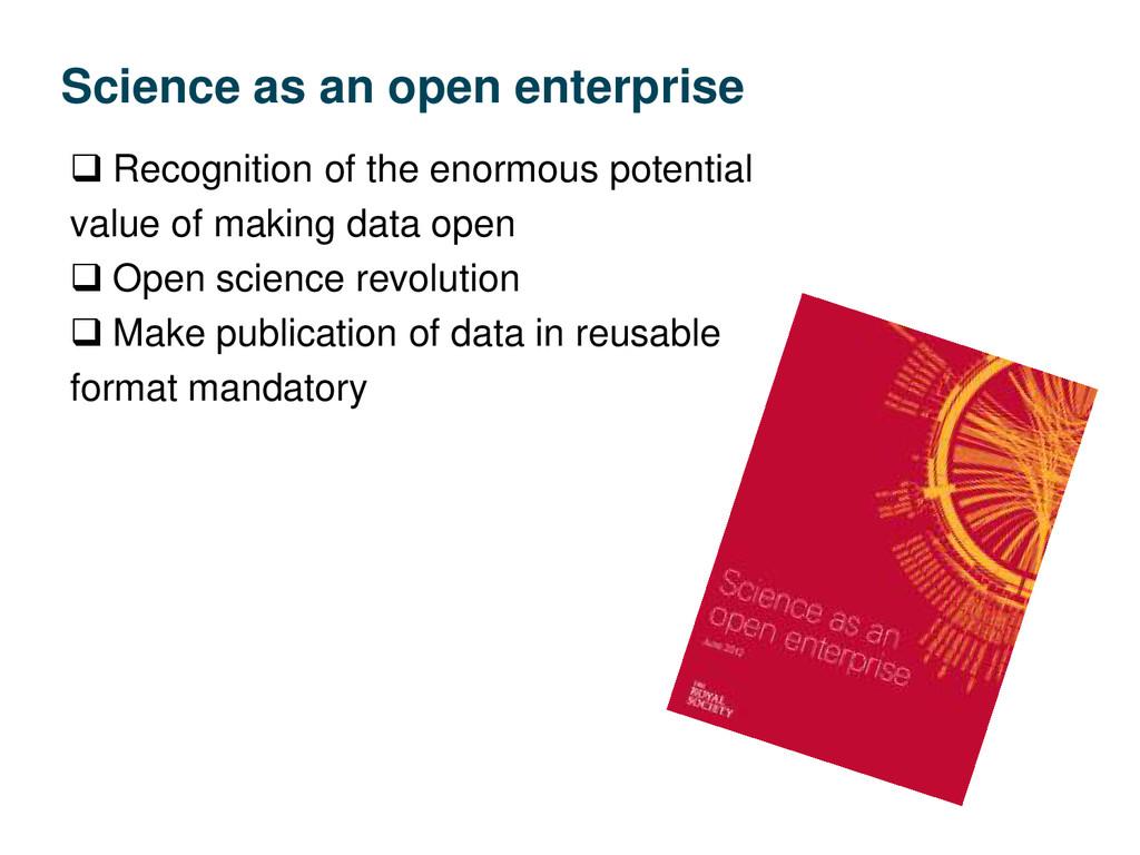Science as an open enterprise  Recognition of ...