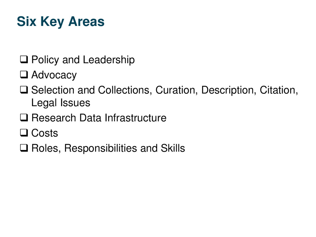 Six Key Areas  Policy and Leadership  Advocac...