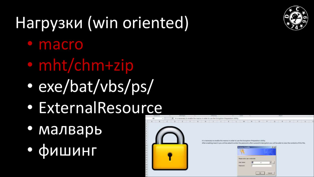 Нагрузки (win oriented) • macro • mht/chm+zip •...