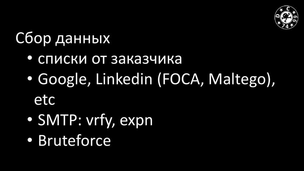 Сбор данных • списки от заказчика • Google, Lin...