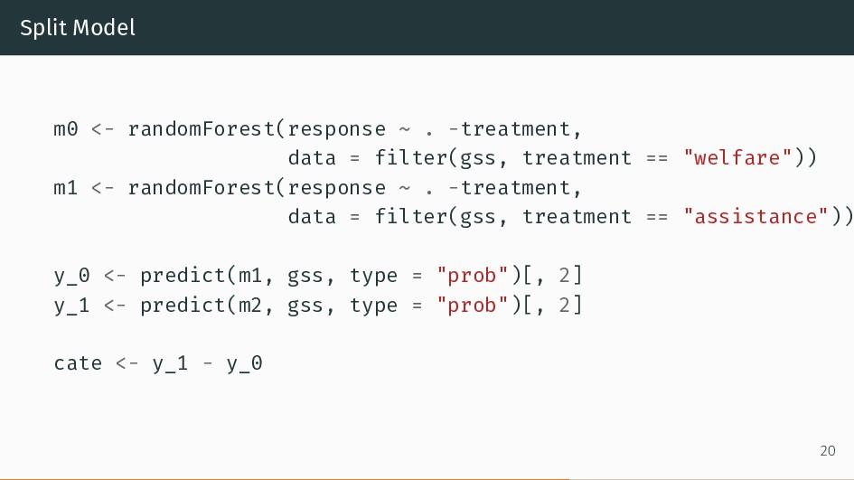 Split Model m0 <- randomForest(response ~ . -tr...