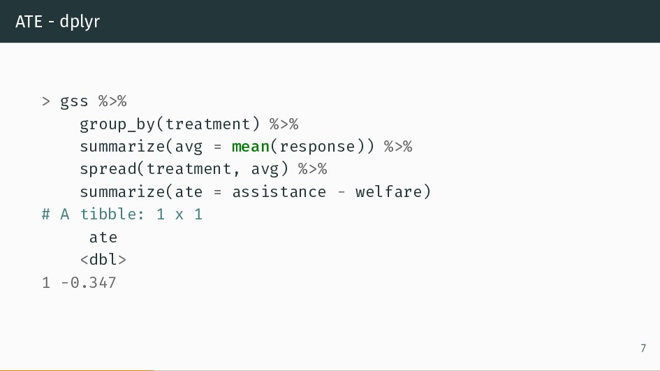 ATE - dplyr > gss %>% group_by(treatment) %>% s...