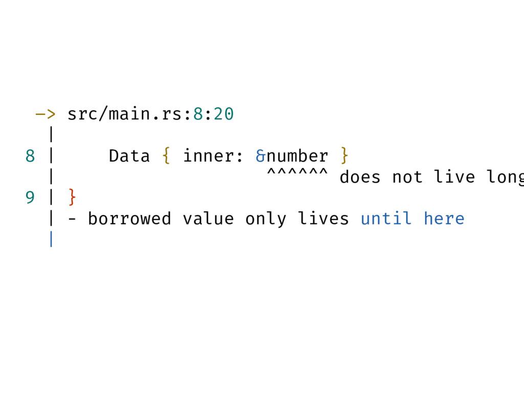 –> src/main.rs:8:20   8   Data { inner: &number...