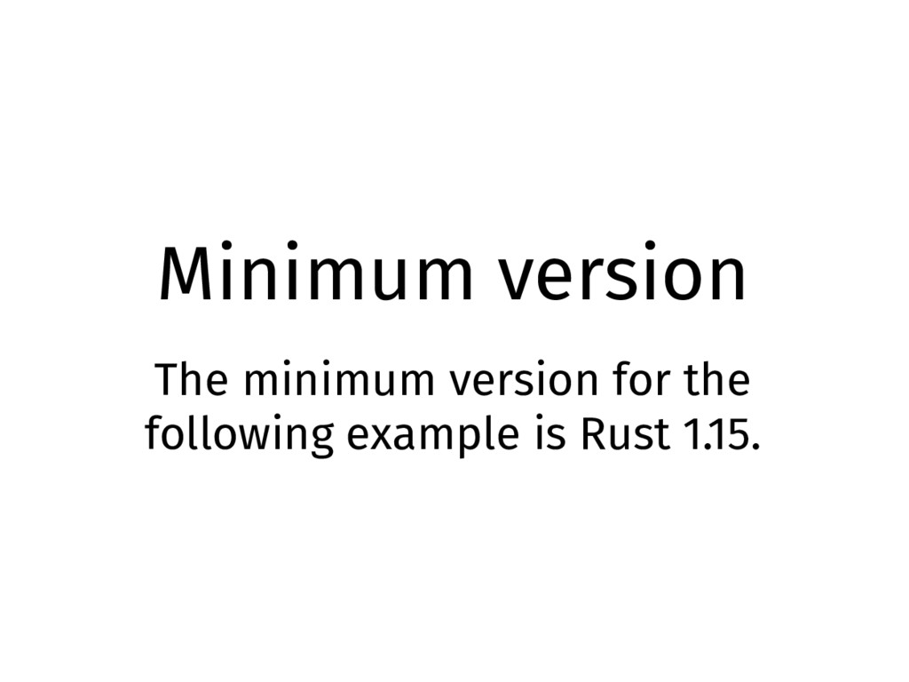 Minimum version The minimum version for the fol...