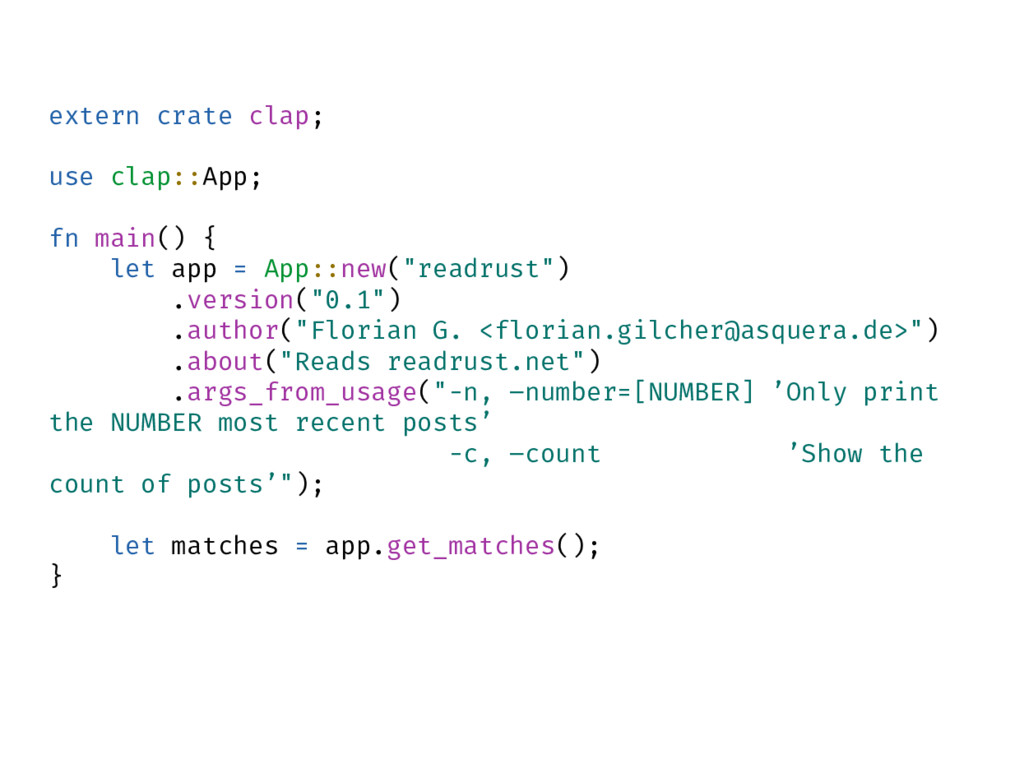 extern crate clap; use clap::App; fn main() { l...