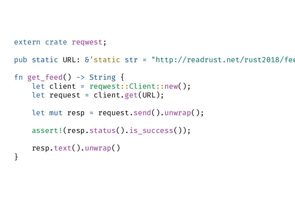 extern crate reqwest; pub static URL: &'static ...