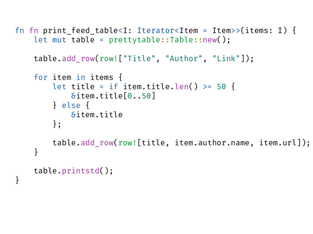 fn fn print_feed_table<I: Iterator<Item = Item>...
