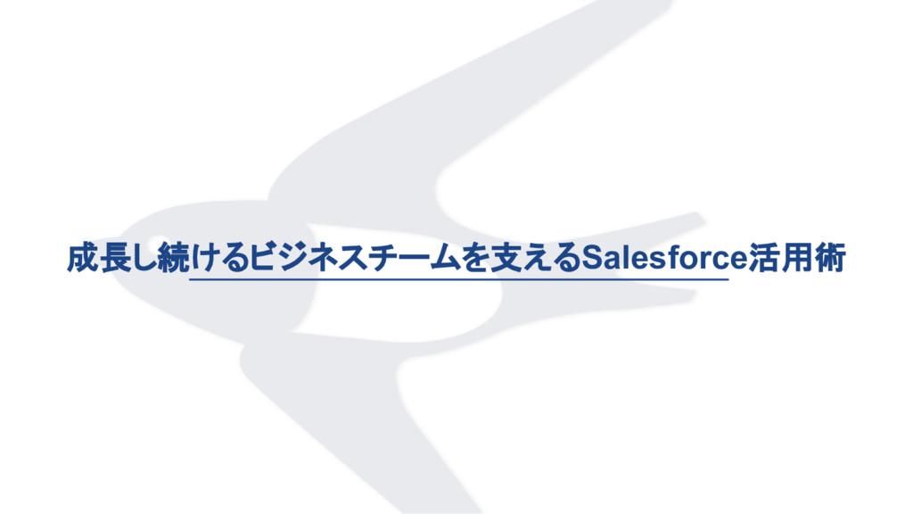 成長し続けるビジネスチームを支えるSalesforce活用術