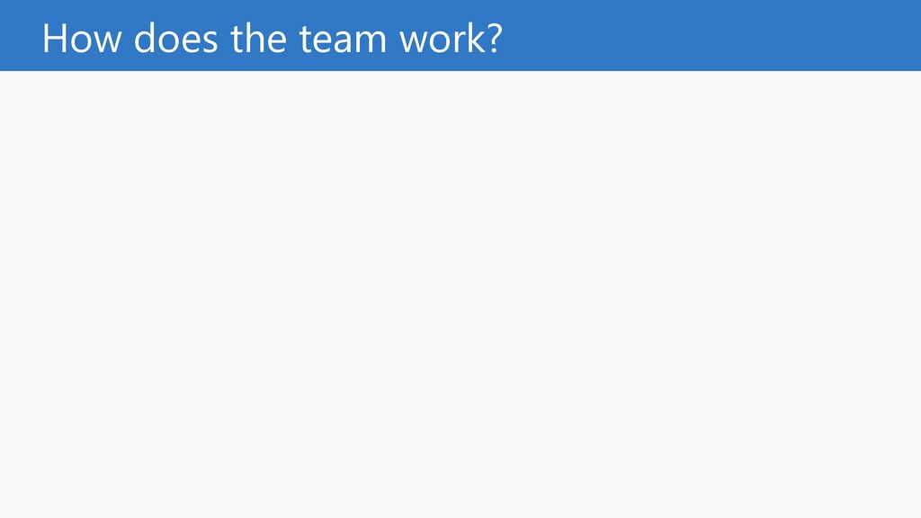 How does the team work?
