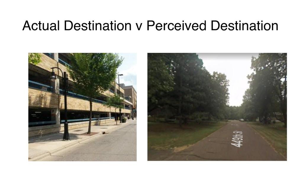 Actual Destination v Perceived Destination