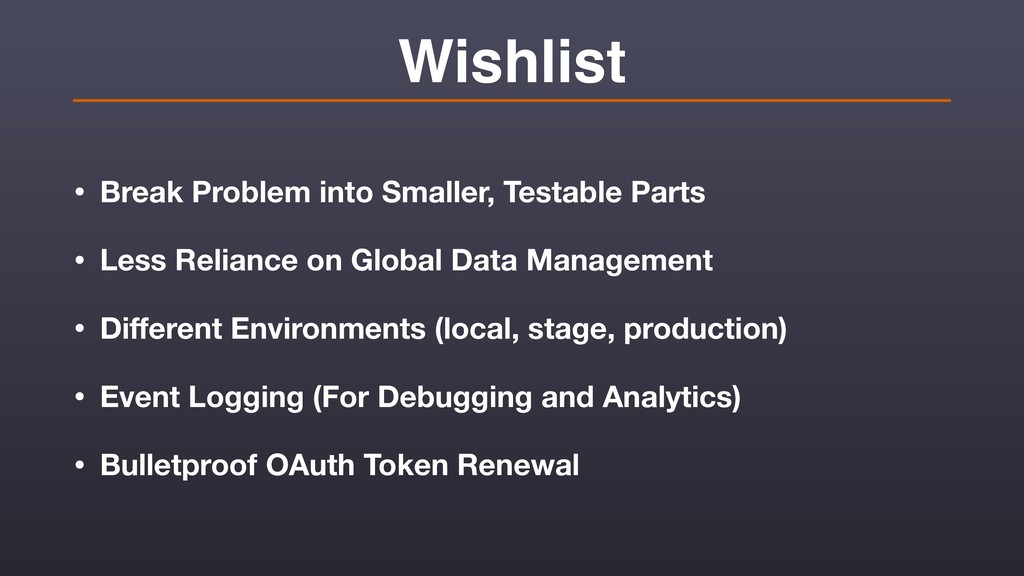 Wishlist • Break Problem into Smaller, Testable...