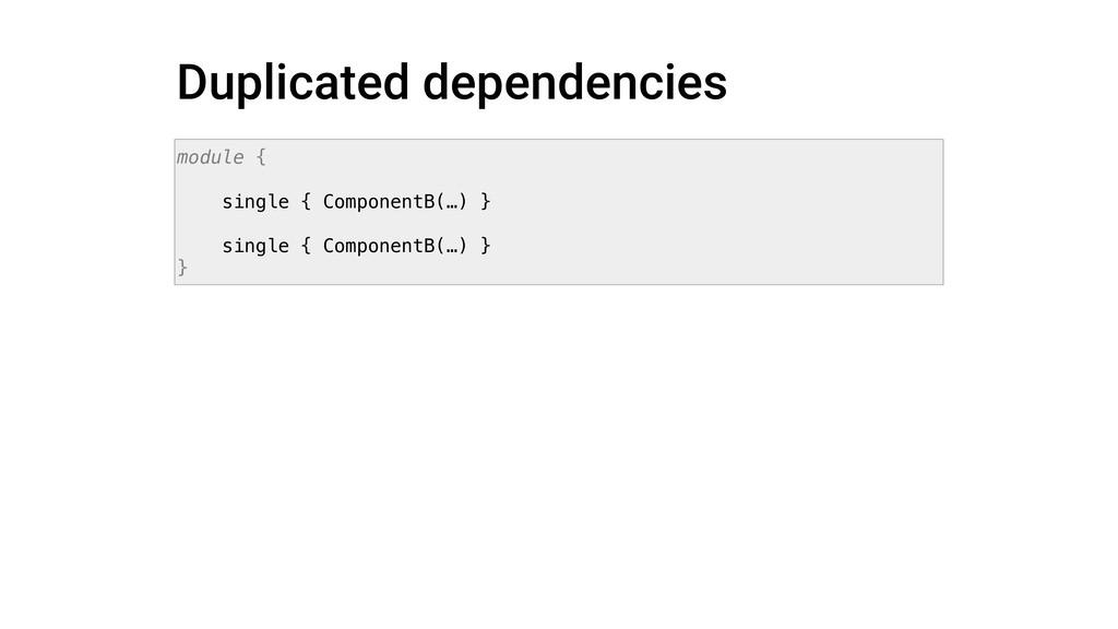 Duplicated dependencies module { single { Compo...