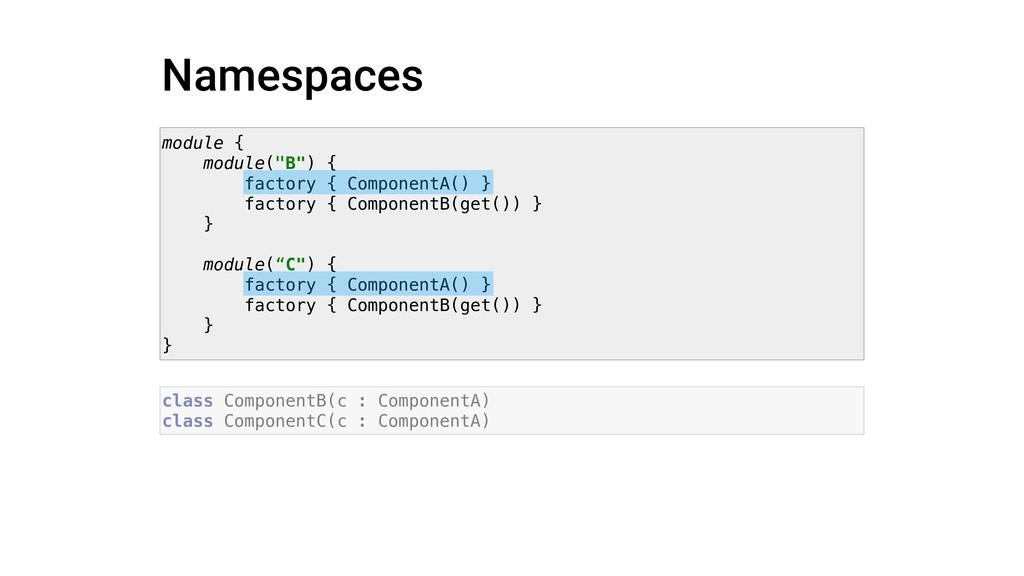 "Namespaces module { module(""B"") { factory { Com..."