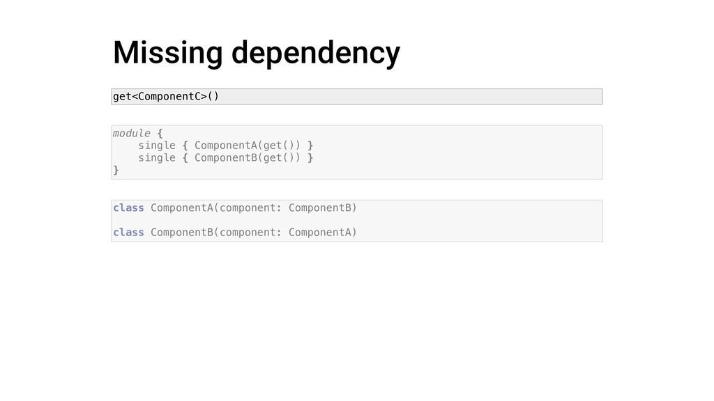 Missing dependency module { single { ComponentA...